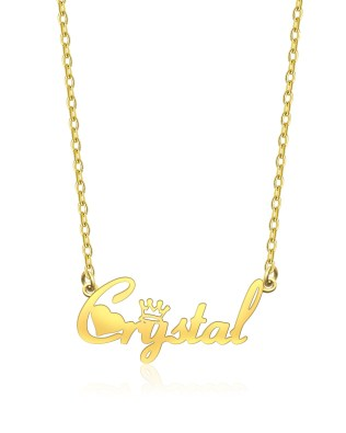 """Crystal"" Style Name Necklace 18K Gold Plated Copper"