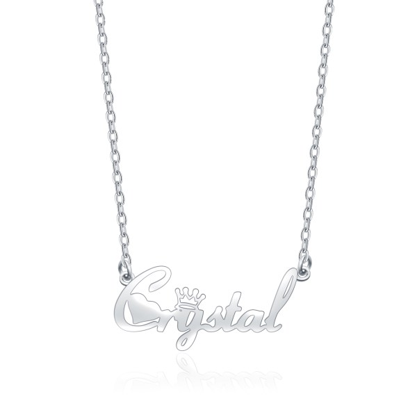 """""""Crystal"""" Style Name Necklace Platinum Plated Copper"""