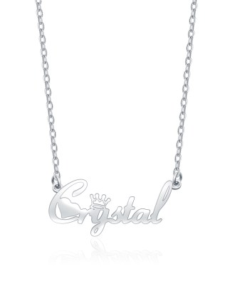 """Crystal"" Style Name Necklace Platinum Plated S925"