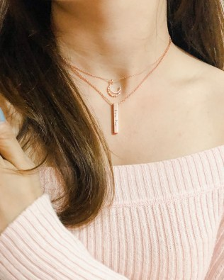 Vertical Bar Name Necklace Rose Gold Plated S925