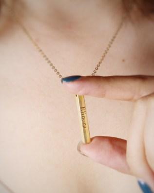 Vertical Bar Name Necklace  Silver