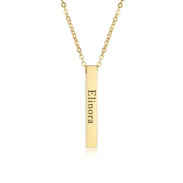 bar name necklace 18k gold plated engrave name in silver