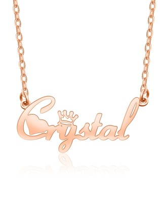 """Crystal"" Style Name Necklace Rose Gold Plated Copper"