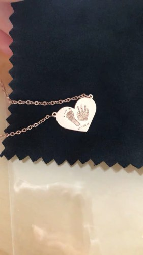 Love baby 3D Engrave footprint and handprint necklace 18k Gold Plated S925 photo review