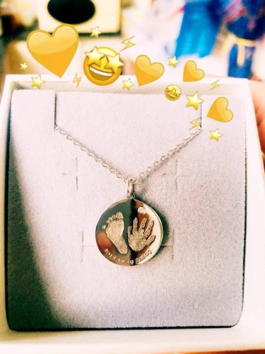 Baby 3D Engrave footprint and handprint necklace 18k Gold Plated S925 photo review