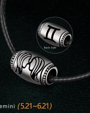 Gemini Name Engrave Necklace Unisex Black Chain