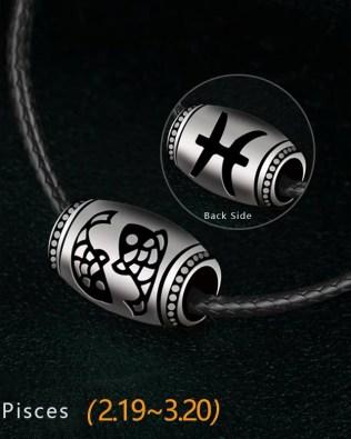 Pisces Name Engrave Necklace Unisex Black Chain