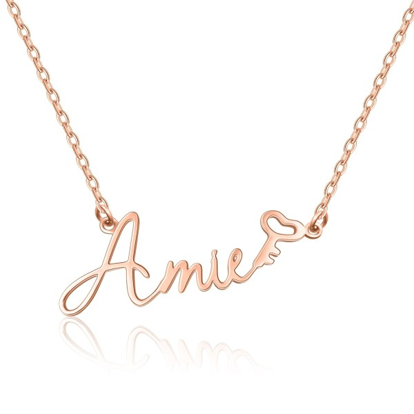 rose gold silver custom name necklace