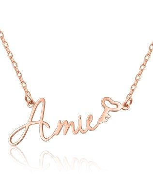 """Amie"" Style Name Necklace Rose Gold S925"