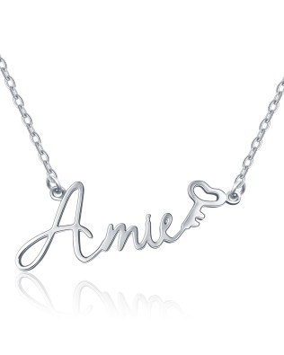 """Amie"" Style Name Necklace Platinum Plated S925"