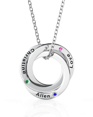Russian Ring Name Necklace with birthstone Platinum Plated Silver S925