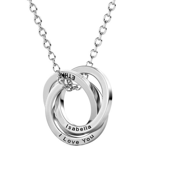 personalised russian ring necklace sterling silver