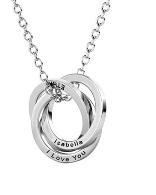 Russian Ring Name Necklace Platinum Plated Silver S925