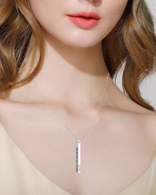Vertical Long Bar Name Necklace Platinum Plated S925