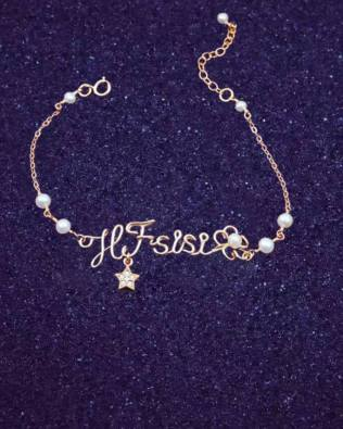 Star and Flower Hand Made Name Bracelet with Pearl
