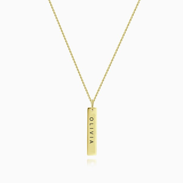Bar Name Necklace 18k Gold Plated