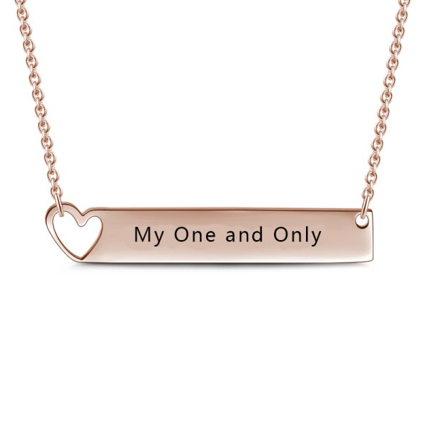 bar name necklace with heart shape rose gold plated