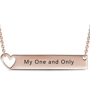 Bar Necklace with Heart Rose Gold Plated