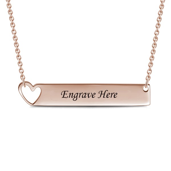 bar name necklace silver rose gold