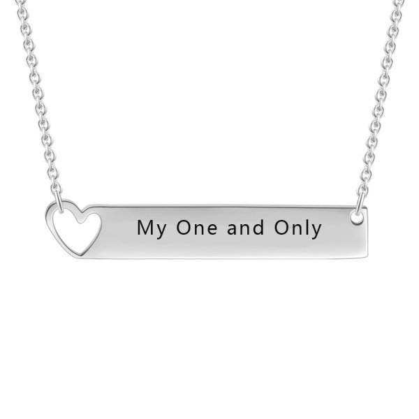 bar name necklace with heart shape silver