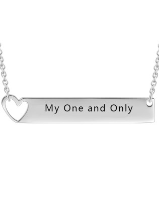 Bar Necklace with Heart Silver