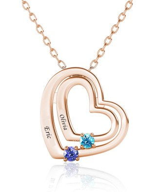 Name Engraving Heart Style Necklace with Birthstone Rose Gold S925