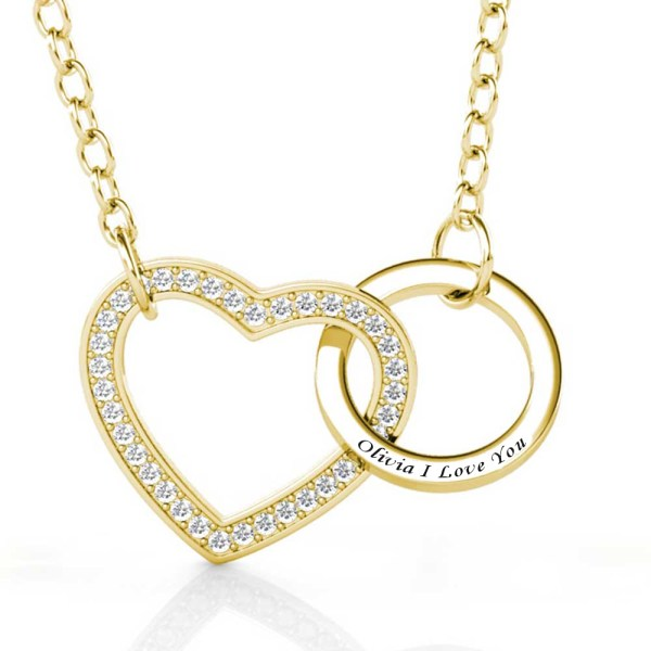 love and ring style necklace with name on it silver gold plated