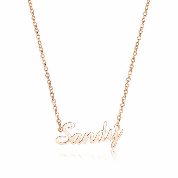 sandy name necklace rose gold plated