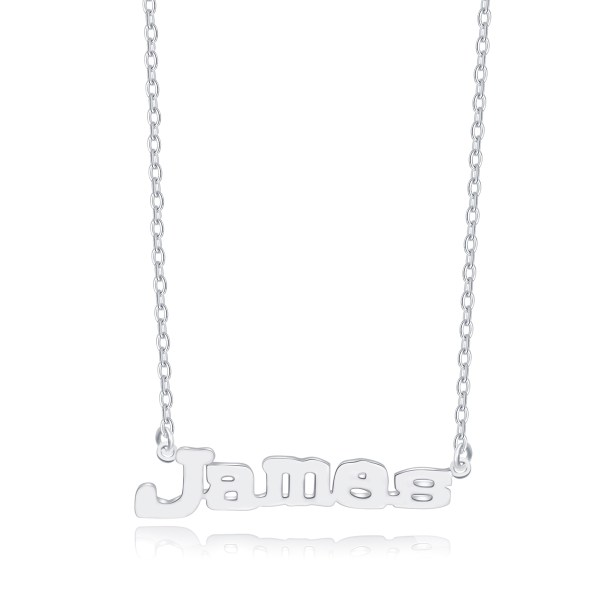 James Style Name Necklace Platinum Plated S925