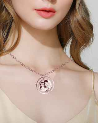Luna Photo Necklace Rose Gold Plated S925