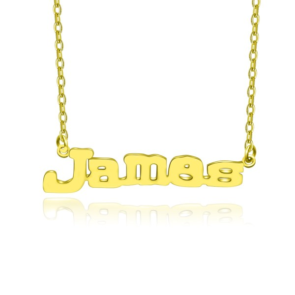 james style name necklace 18k gold plated