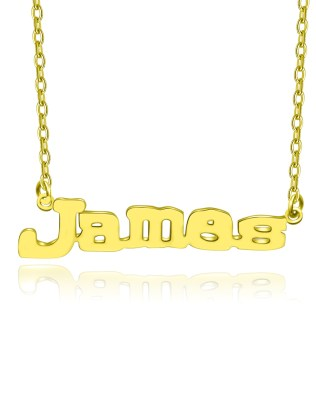 James Style Name Necklace 18k Gold Plated S925