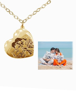 Love Photo Necklace 18k Gold Plated S925