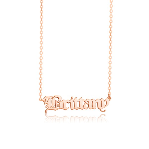 old english name necklace sterling silve rose gold