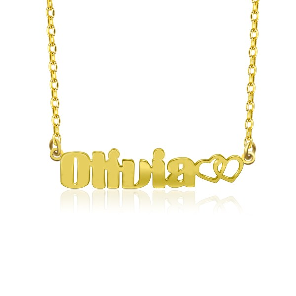 olivia style name necklace 18k gold plated silver