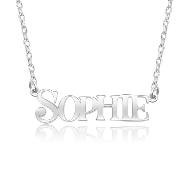 sophie style name necklace platinum plated