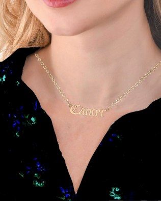 Zodiac Sign Name Necklace Gold Plated