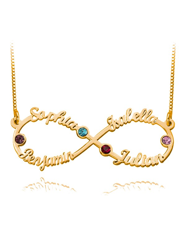 infinity name necklace 4 names with birthstones rose gold plated silver