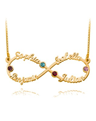 Infinity 4 Name Necklace with Birthstone Rose Gold Plated Silver