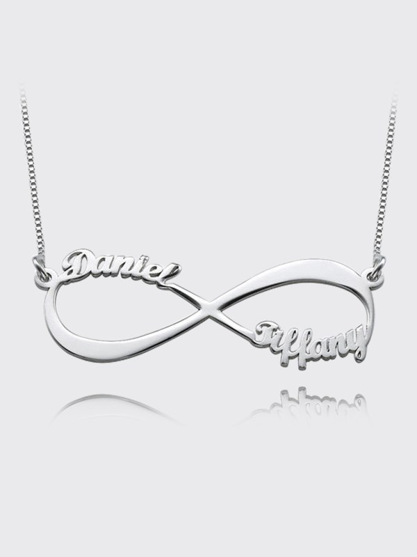 infinity name necklace 2 name silver platinum plated