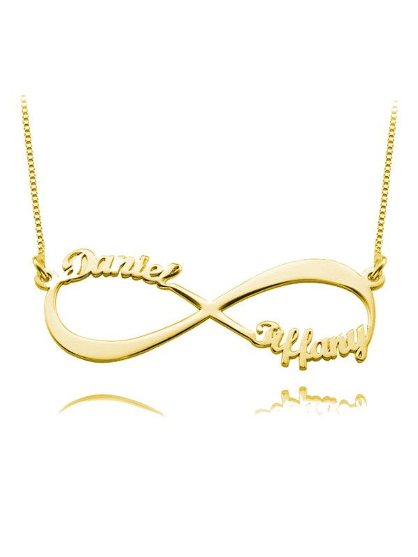 infinity name necklace 2 name silver 18k gold plated