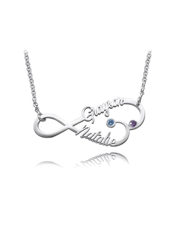 personalized infinity heart name neckalce silver