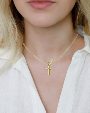 Infinity Cross Name Necklace 18k Gold Plated Silver