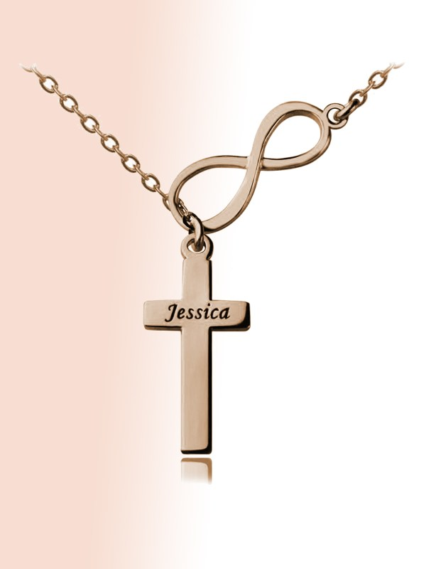 infinity cross name neckalce silver rose gold