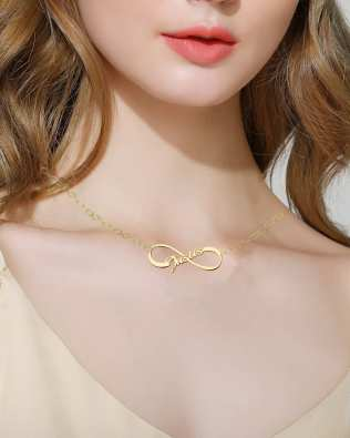 Infinity Single Name Necklace 18k Gold Plated Silver