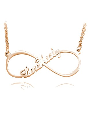 Infinity Single Name Necklace Rose Gold Plated Silver