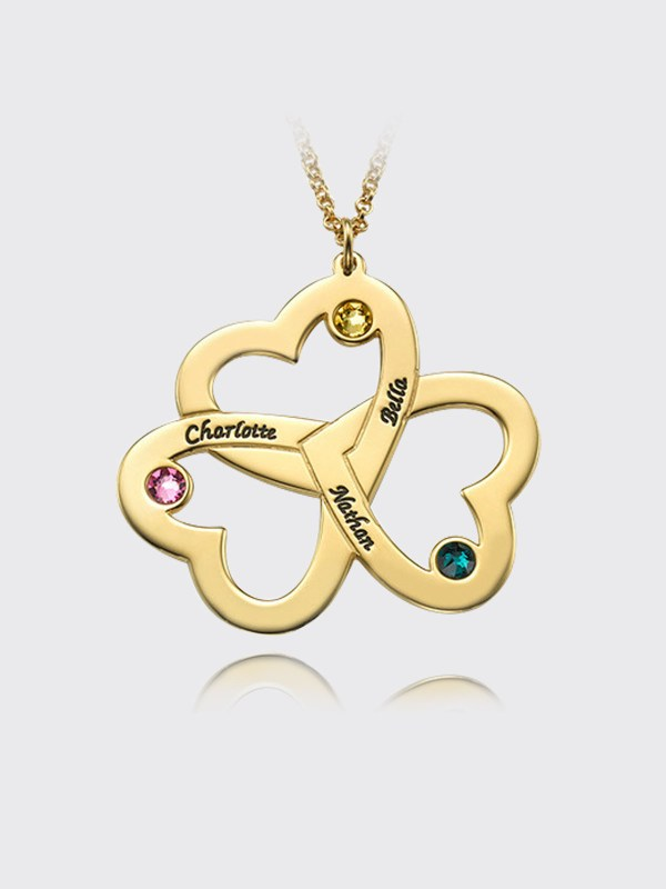 3 heart name necklace 18k gold silver