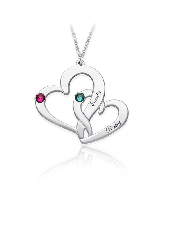 two heart name necklace platinum plated silver
