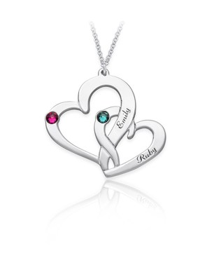 Two Heart Necklace 2 Silver