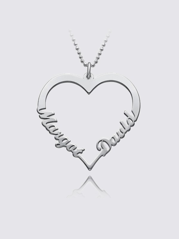 heart name necklace 2 name silver